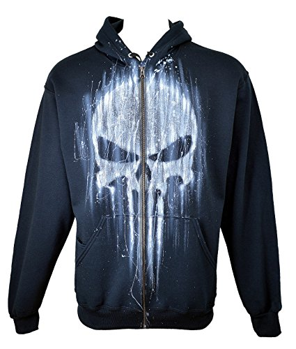 Airbrushed Clothing (The Punisher Hoodie, Airbrushed, Zip-Up, No Name, Adult, XXL, Black)