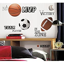 Kids Brown Grey White Wall Decals Set, Sports Themed Wall Stickers Peel Stick, Sport Basketball Football Soccer Baseball Athlete Team Champion Balls Decorative Graphic Mural Art, Vinyl