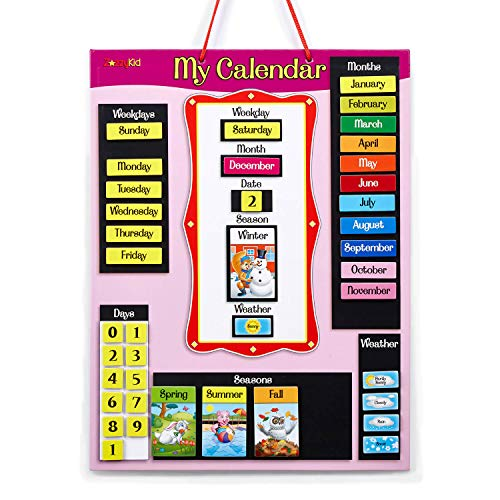 - ZazzyKid Magnetic Daily Calendar for Kids - My First Calendar for Today's Date, Weekday, Month, Season, Weather - Learn & Play Wall Calendar Chart in Pink & Blue (Pink)