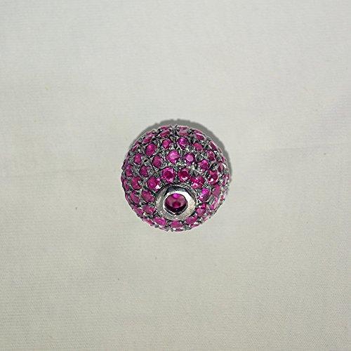 925 Sterling Silver Handmade Ruby Bead Wholesale Jewelry Findings by Jaipur Handmade Jewelry