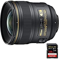 Nikon 24mm F/1.4G ED AF-S Wide-Angle Lens (2184) with Sandisk Extreme PRO SDXC 128GB UHS-1 Memory Card, Up to 95/90MB/s Read/Write Speed
