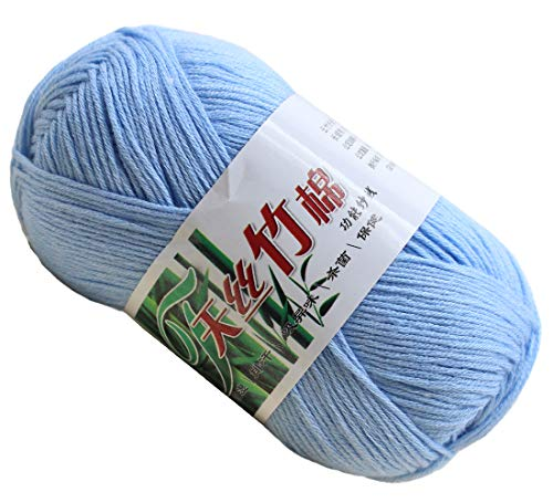 Set of 10 Skein Natural Select Soft Tencel Yarn 70% Bamboo + 30% Egyptian Cotton Crochet 50g Baby Knit Wool Yarn (Light Blue -