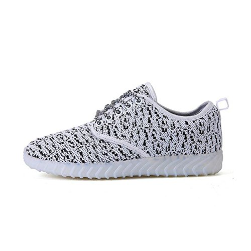 HUAN Shoes USB LED Step LED Size Comfort 38 Flashing Sneakers Shoes Charging Breathable Dance Shoes Ghost Parent Couples Child Gray Color Shoes 00Trzq