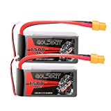 GOLDBAT 2 Packs 11.1V 1500mAh 100C 3S LiPo Battery Pack RC Battery with Velcro Strap and Deans Plug for RC Car Boat Truck RC Boat UAV Drones FPV