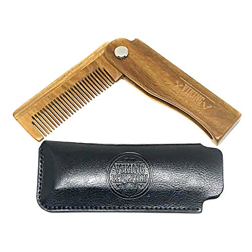 Folding Beard Comb w/Carrying Pouch for Men - All Natural - Import