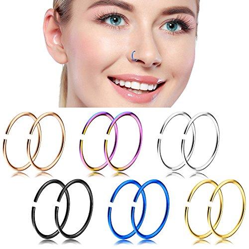 Nose Hoop Rings,18-20G 12PCS Stainless Steel Body Jewelry Piercing Nose Ring Hoop,Nose Studs Rings Tragus hoop Earring. (B: 12Pcs (18G 10mm Outer Diameter))