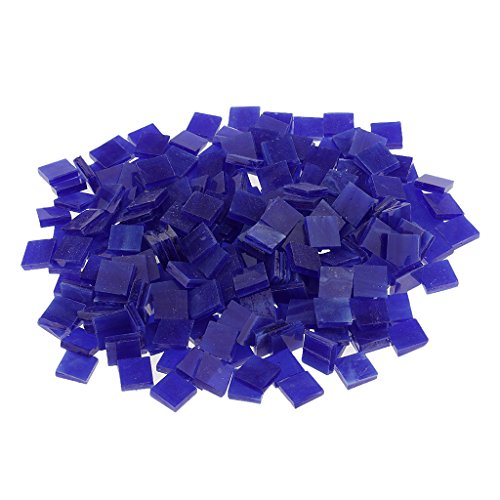 Fityle 250 Pieces Many Color Square Glass Mosaic Tiles For Mosaic Making Craft – Dark blue