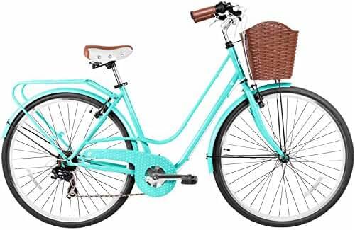 Gama Bikes Women's City Avenue Step-Thru 6 Speed Shimano Hybrid Urban Cruiser Commuter Road Bicycle, 700c wheels