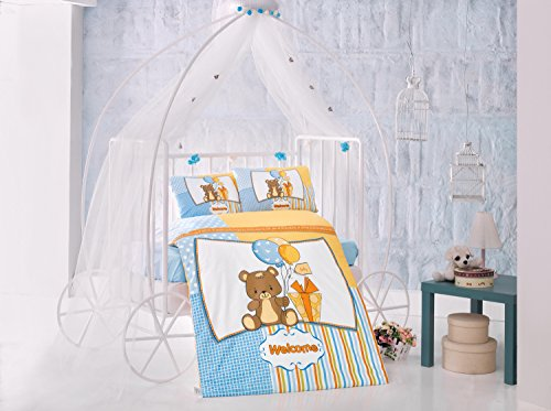 Sweet Bear Blue Baby Cot Bed Duvet Cover Set, 100% Cotton Soft and Healthy 4-Pieces Bedding Set by TI Home