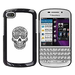 GOODTHINGS Funda Imagen Diseño Carcasa Tapa Trasera Negro Cover Skin Case para BlackBerry Q10 - cráneo de la muerte de metal negro con tinta blanca