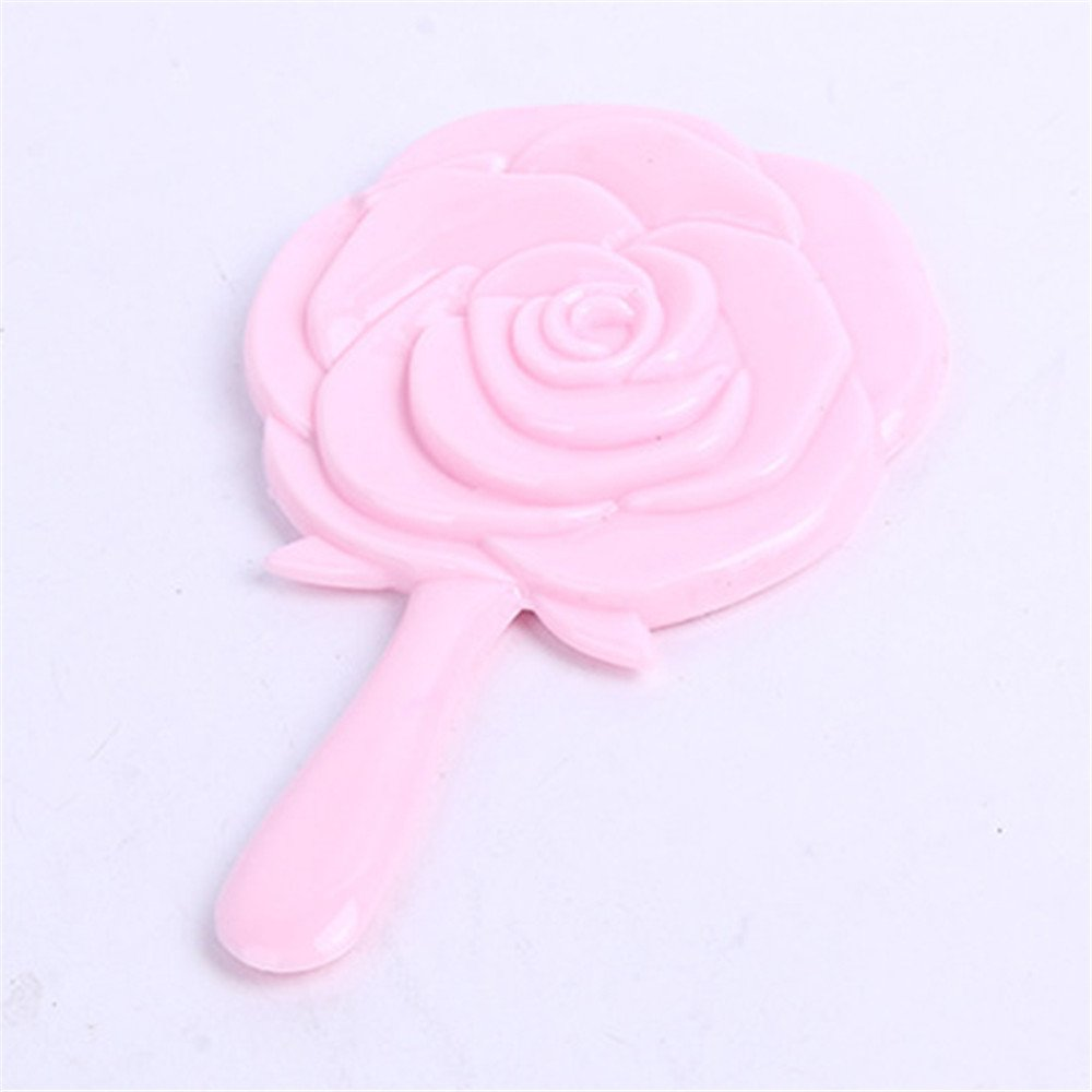 TiTa-Dong Portable Girl s Vintage Handheld Mirror Rose Flower Style Makeup Beauty Dresser Gift Pink