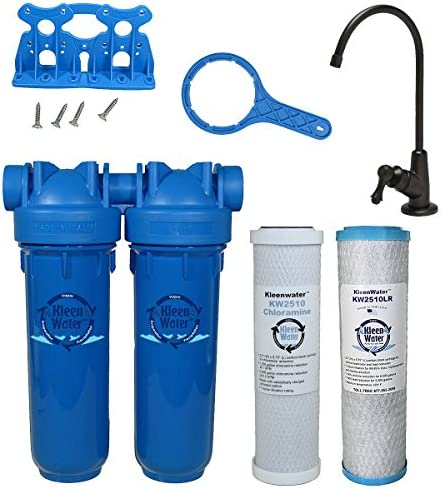 Chlorine Sediment Chloramine Lead Water Filter, KleenWater KW1000 Chemical Removal Under Sink Drinking Water Filtration System, Oil Rubbed Bronze Faucet, Two Filter Cartridges Oil Rubbed Bronze