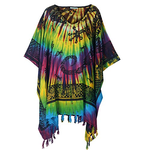 Tropicalsale Women's Trendy Colourful Gecko Caftan Tunic Top Big Plus Size