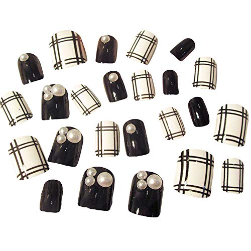 lightclub 24Pcs Grid Stripe Pattern Fake Full Cover Finger False Nail Art Tips Manicure Tool black