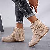 ZBYY Women's Fashion Flat Heel Calf Boots Tassel