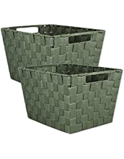 "DII Durable Trapezoid Woven Nylon Storage Bin or Basket for Organizing Your Home, Office, or Closets (Large Basket - 13x15x10"") Olive Green - Set of 2"
