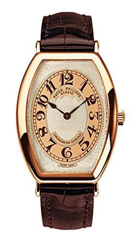 lo Men's Rose Gold Watch Brown Leather Strap (Patek Philippe Rose Gold)