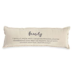 Mud Pie Family Definition Decorative Accent Pillow, One Size, Off Off White