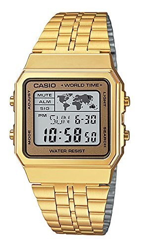 World Time Gents Watch - CASIO Men's Digital World TIME A500WGA-9DF Stainless Steel Watch
