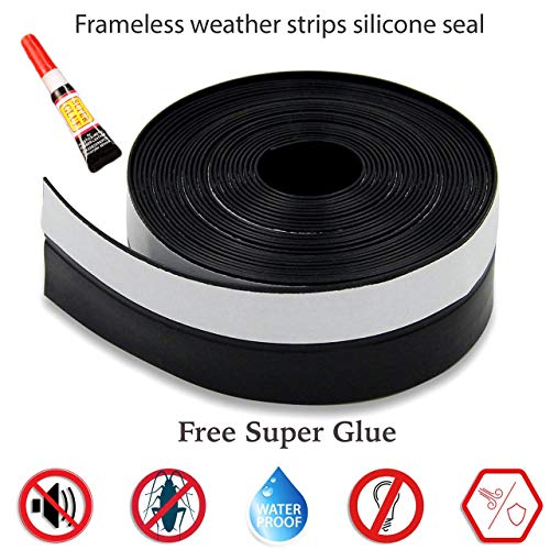 (Frameless Weather Stripping Silicone Rubber Seal Window Door Sweep for -1 inch (25 mm) x 16 Feet (5m) Length Adhesive (Black))