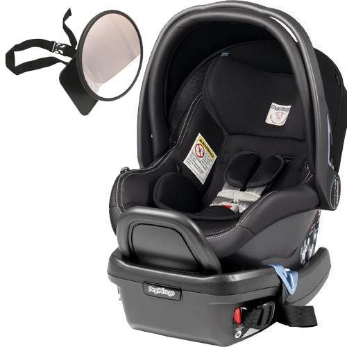 Peg Perego - Primo Viaggio 4-35 Car Seat w Back Seat Mirror - Licorice - Black Eco-Leather