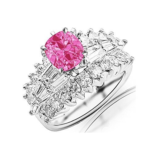 Tw Pink Cushion Cut Ring - 2.9 Carat t.w 14K White Gold Exquisite Prong Set Bageutte and Round Diamond Engagement Ring w/a 0.75 Carat Cushion Cut Pink Sapphire Heirloom Quality