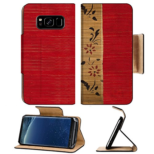 - MSD Premium Samsung Galaxy S8 Flip Pu Leather Wallet Case IMAGE ID: 7808254 Flower bamboo banner on red ribbed wood textured background
