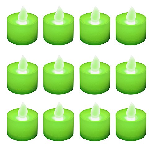 - Lumabase 80712 12 Count Battery Operated Tea Lights, Green