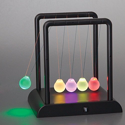 BonZeal Science Geek Newton's Kinetic Energy Multi-Colour Light Up Cradle W/ LED Glass Balls And Mirror For Desktops