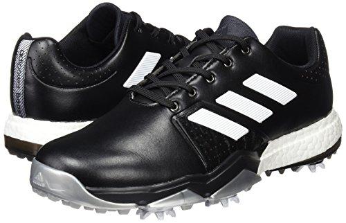 Scarpe Da Golf Adidas Adidas 2017 Adipower Boost 3 Da Uomo In Pelle Impermeabile - Ampio Nero / Bianco / Argento 7uk