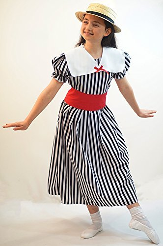 Victorian Kids Costumes & Shoes- Girls, Boys, Baby, Toddler Victorian-Edwardian-Dance-Easter Parade DELUXE POLYANNA BLACK & WHITE STRIPE DRESS with BOATER - All Ages  AT vintagedancer.com