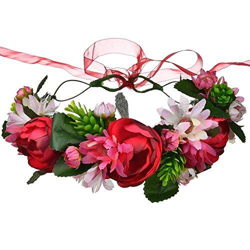DreamLily Maternity Woodland Photo Shoot Peony Flower Crown Hair Wreath Wedding Headband BC44 (T-Fuchsia Camellia Camellia Daisy)