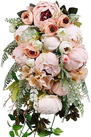 HiiARug Handmade Wedding Bouquets, Artificial Peony Rose Artificial Flower Bouquet Bride Bridesmaid Holding Flower (Pink)