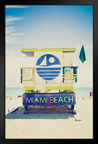 Lifeguard Tower South Beach Miami Florida Photo Art Print Framed Poster 14x20 inch - Miami Beach Florida Framed Art