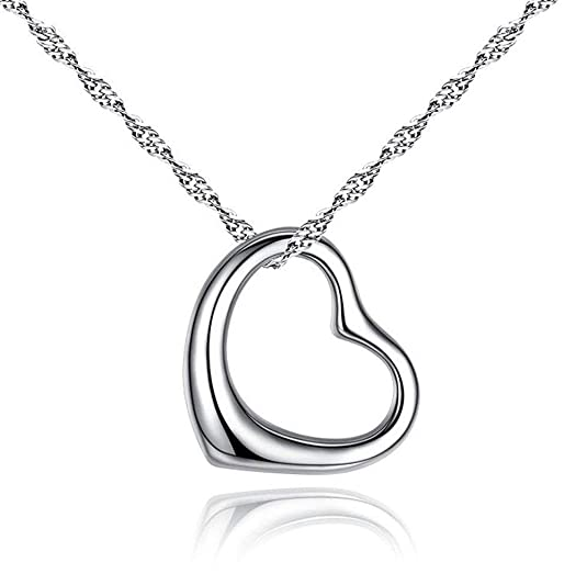 7e3909722 Amazon.com: Designer Inspired Open Heart Pendant Necklace Sterling Silver  925 18 inch Chain: Jewelry