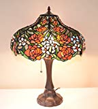 18 Inch Rose Flower Stained Glass Tiffany Style Jeweled Table Desk Lamp, Zinc Base