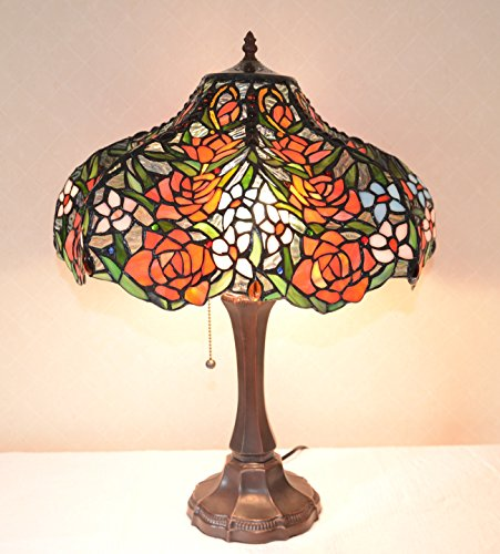 18 Inch Rose Flower Stained Glass Tiffany Style Jeweled Table Desk Lamp, Zinc - Jeweled Stained Glass Rose