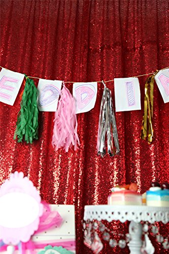 TRLYC Christmas Red 10FT By Sparkly Square Sequin Backdrop Baby Shower Curtain For Weddiing Party
