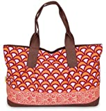 Amy Butler Abina Oversized Tote,Fountains Tangerine,one size, Bags Central
