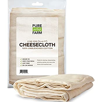 Pure Grade 50 100% Unbleached Cotton Cheesecloth Strain,  2 Yards (18 Sq Feet)