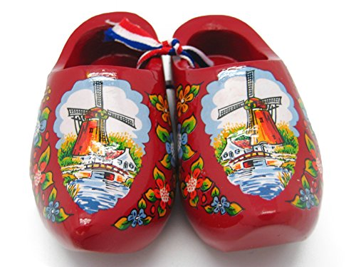 Essence of Europe Gifts E.H.G Decorative Wooden Shoe Clogs Dutch Landscape Design Red (4