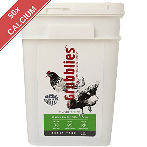 Grubblies - 5 lb. USA-Grown Grubs, 50x More Calcium than Mealworms - a Daily Nutritious Snack to Treat Your Chickens - 100% Natural and Oven-dried for Happy, Healthy Hens by Grubbly Farms
