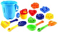 Sandy Beach Big Bucket Children's Kid's Toy Beach/Sandbox Playset w/ Bucket, Watering Can, Hand Tools, Sand Molds (Colors May Vary) by Sand Toys