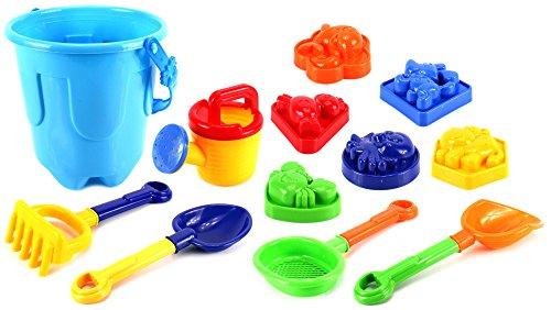 Sandy Beach Big Bucket Children's Kid's Toy Beach/Sandbox Playset w/ Bucket, Watering Can, Hand Tools, Sand Molds (Colors May Vary)
