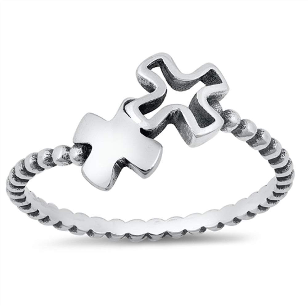 CloseoutWarehouse Oxidized Sterling Silver Double Cross Beaded Band Ring
