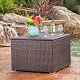 Deck Box Patio Storage,Garden Tools Organizer, Wicker,Brown