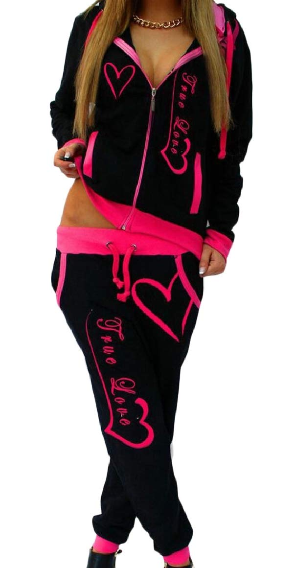 RG-CA Womens Hoodies Sweatsuit Pants Front-Zip Jog Two-Piece Sets Tracksuits