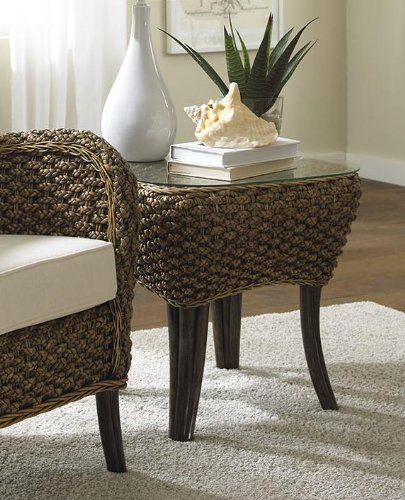 Panama Jack Sunrooms Sanibel End Table with Glass, (Living Room Rattan End Table)
