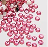 DGI MART 1440pcs Flat Back Rhinestones Round Brilliant 14 Cut 3mm - 10ss Pink