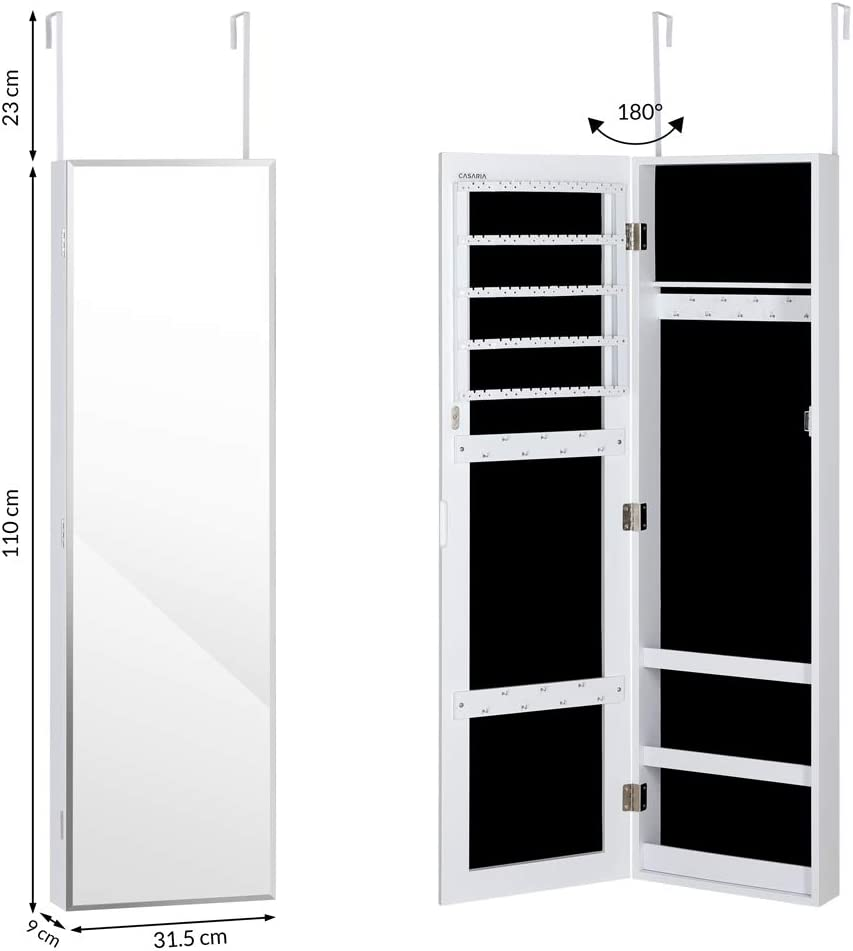 Casaria Jewellery Cabinet Full Length Mirror LED Lights Make Up Lockable Storage Organizer Door Wall Mounted Armoire